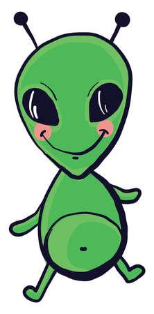 Little green alien, illustration, vector on white background Illusztráció