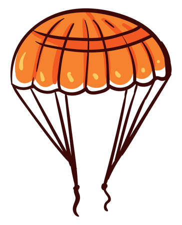 Orange parachute, illustration, vector on white background Illustration