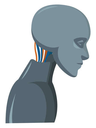 Robot with wires, illustration, vector on white background