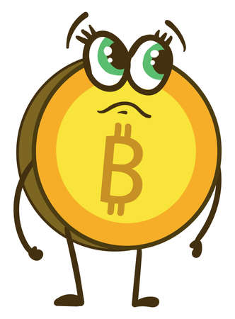 Sad bitcoin, illustration, vector on white background