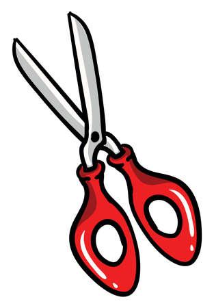 Red scissors, illustration, vector on white background