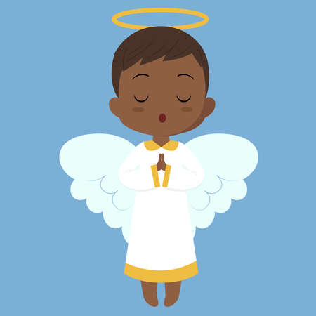 Singing angel, illustration, vector on white background