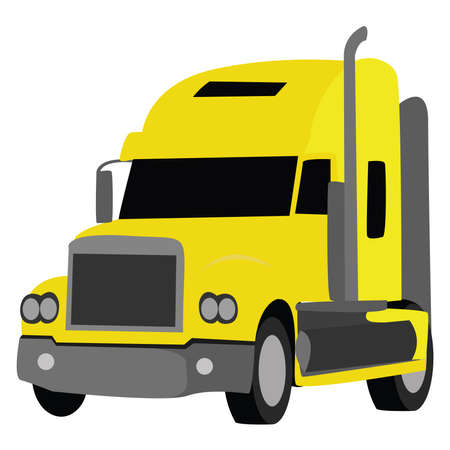 Yellow truck, illustration, vector on white background
