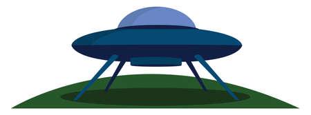 UFO landing, illustration, vector on white background