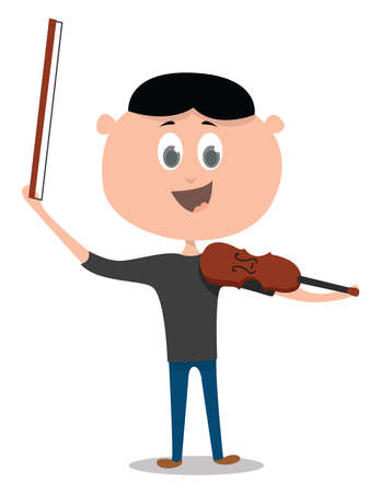 Violinist, illustration, vector on white background