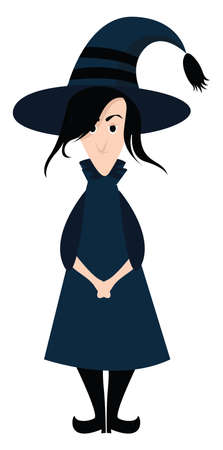 Witch with hat, illustration, vector on white background