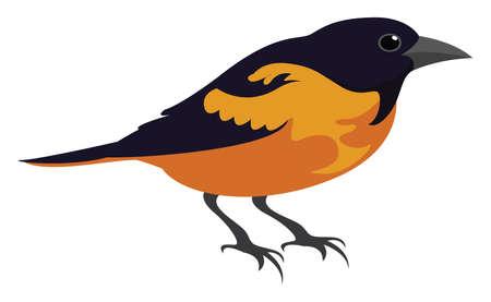Yellow bird, illustration, vector on white background