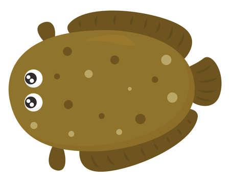 Big brown fish , illustration, vector on white background Illustration