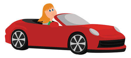 Girl in red car , illustration, vector on white background Stock Illustratie