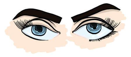 Girl with blue eyes , illustration, vector on white background Illusztráció