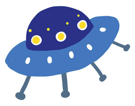 Blue UFO , illustration, vector on white background