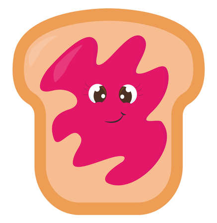 Bread with jam , illustration, vector on white background