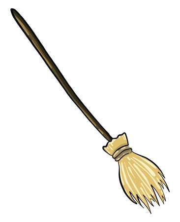 Wooden broom , illustration, vector on white background