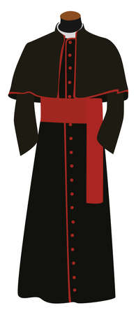 Black cassock , illustration, vector on white background