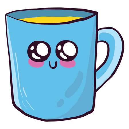 Cute cup , illustration, vector on white background