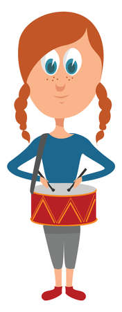Girl playing drums , illustration, vector on white background