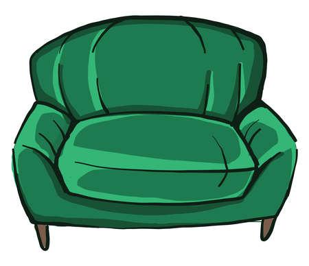 Green armchair , illustration, vector on white background Vettoriali