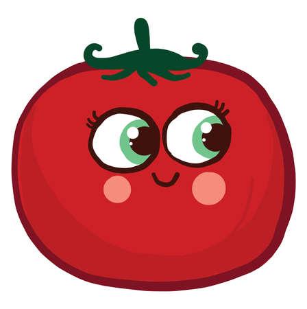 Happy tomato , illustration, vector on white background