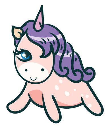 Happy unicorn , illustration, vector on white background 向量圖像