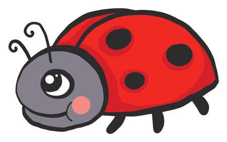 Happy ladybug , illustration, vector on white background 向量圖像
