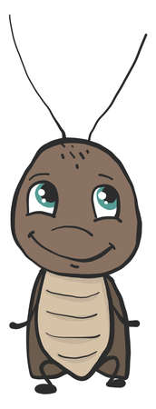 Happy cockroach , illustration, vector on white background