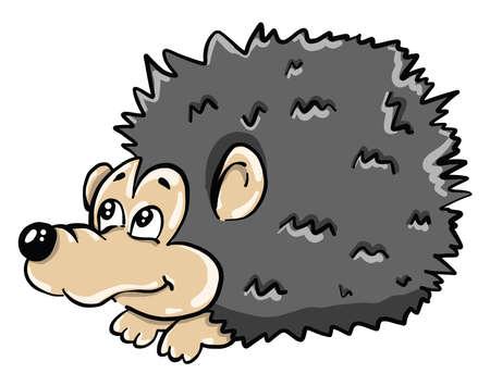 Gray hedgehog , illustration, vector on white background Vecteurs