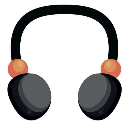 Black headphones , illustration, vector on white background