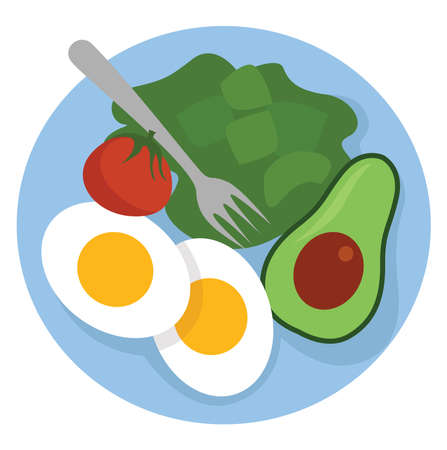 Healthy food on plate , illustration, vector on white background