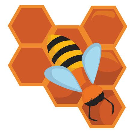 Honeycomb with bee , illustration, vector on white background Illusztráció
