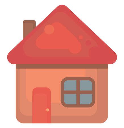 Red house , illustration, vector on white background 向量圖像