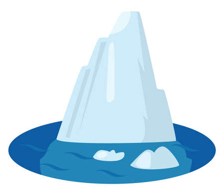 Iceberg in sea , illustration, vector on white background