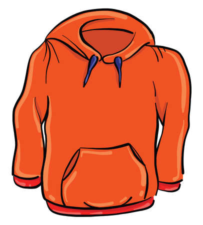 Red hoody , illustration, vector on white background 向量圖像