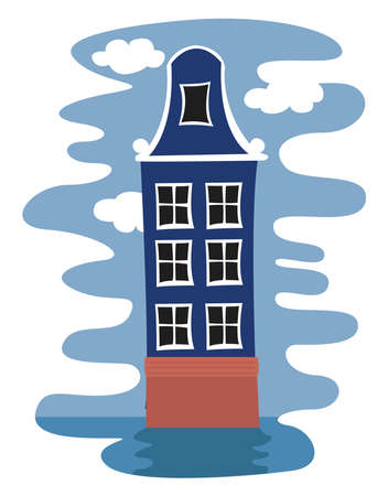 Blue tall house , illustration, vector on white background