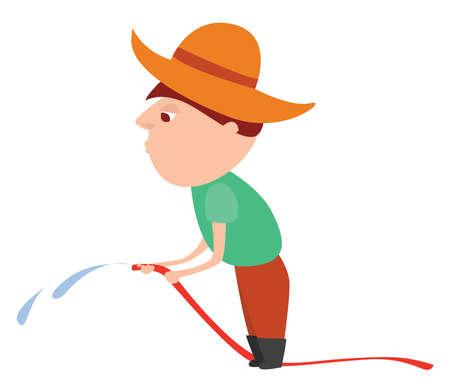 Man holding hose , illustration, vector on white background