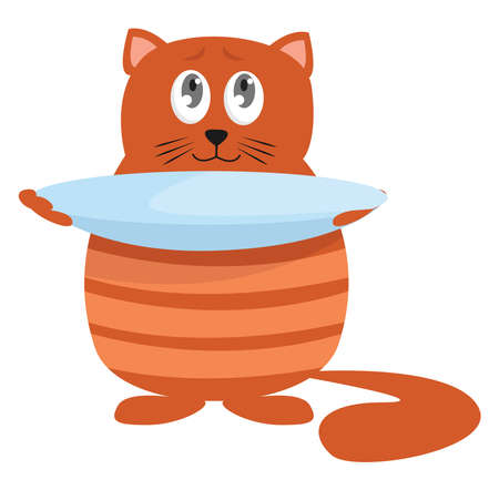 Hungry cat , illustration, vector on white background 向量圖像