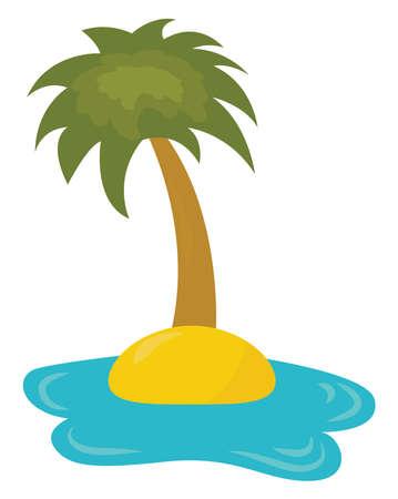Palm tree on island , illustration, vector on white background