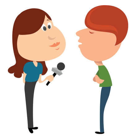 Woman interviewing passenger , illustration, vector on white background