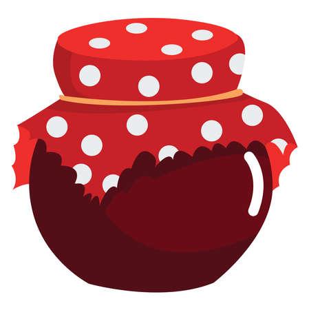 Jam in jar , illustration, vector on white background