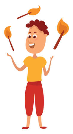 Juggling with fire sticks , illustration, vector on white background