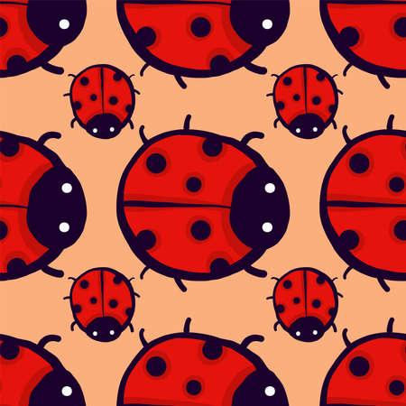 Ladybugs pattern , illustration, vector on white background 向量圖像