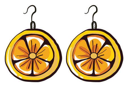 Lemon earrings , illustration, vector on white background