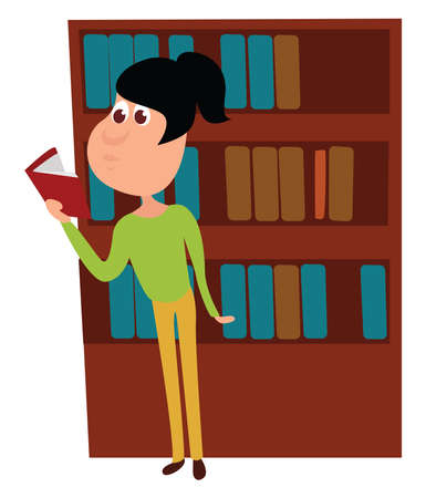 Woman reading book in library , illustration, vector on white background