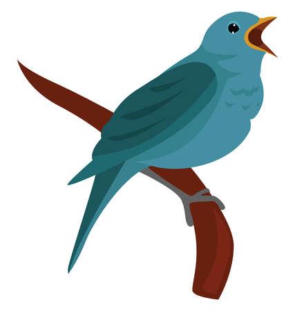 Nightingale bird , illustration, vector on white background Illustration