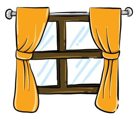 Old window , illustration, vector on white background
