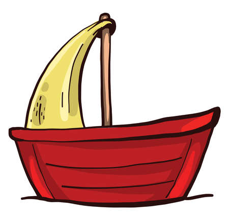 Red small boat , illustration, vector on white background 向量圖像