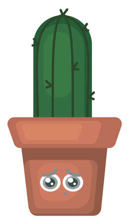 Cactus in sad pot , illustration, vector on white background