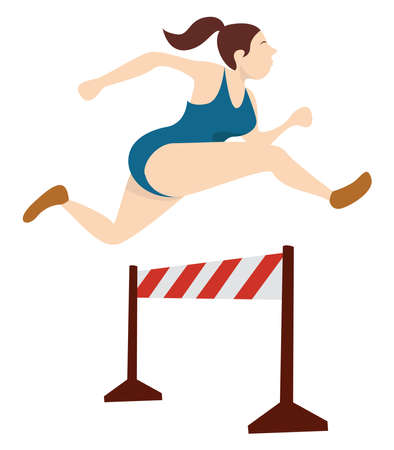 Running with obstacles , illustration, vector on white background