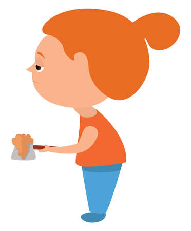 Sleepy girl with coffee , illustration, vector on white background