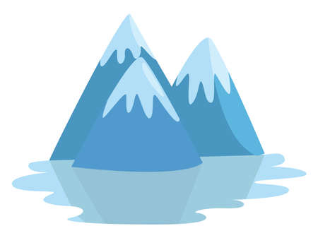 Snow capped mountains , illustration, vector on white background 일러스트