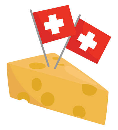 Swiss cheese , illustration, vector on white background